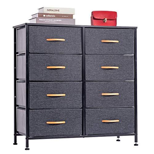 WAYTRIM 4-Tier Wide Drawer Dresser, Storage Unit with 8 Easy Pull Fabric Drawers and Metal Frame, Wood Top, Organizer Unit for Bedroom, Hallway, Entryway, Closets - Dark Indigo