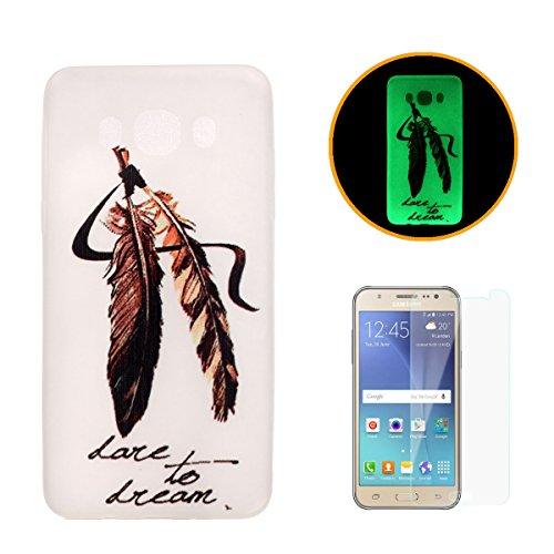 CaseHome - Cover luminosa per iPhone SE/5S/5, con protezione schermo, creative design modello unico stampato effetto fluorescente verde Night Glow in the Dark brilla al buio ultra sottile trasparente e morbida in gel di silicone TPU, custodia protettiva per Apple Iphone SE/5S/5- Dente di leone , Gold Feather, Samsung Galaxy J5 (2016)/J510