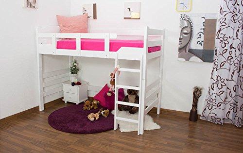 Kinderbett/HochbettEasy Premium Line K14/n, Buche Vollholz massiv Weiß - Maße: 90 x 200 cm