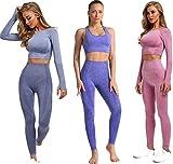 Conjunto Yoga 3 Piezas para Mujer, ConjuntoDeportivo Pantalones De Yoga Súper Elásticos Sin Costuras mas Bralette para Mujer Camiseta Deportiva De Manga Larga Sin Costuras Mujer (Set Rosa, L)
