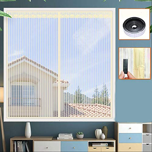 Fenetre Magnetique, Moustiquaire de Porte Moustiquaire spécial fenêtre avec Velcro avec Bande Adhésive Standard Contre Insectes/moustiques, (Jaune)