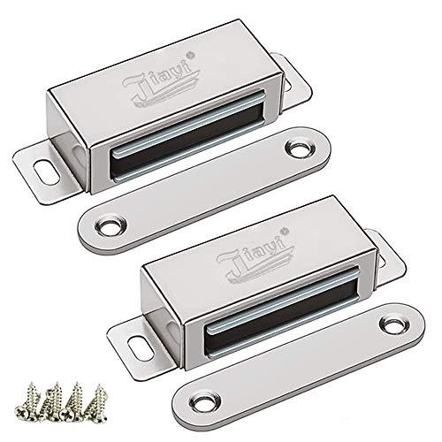 Magnetschnäpper Jiayi 2 Stück Tür Magnete für Schranktüren 25kg Magnetverschluss Schrank Türmagnete für Möbel Stark Möbelmagnete Edelstahl Türschließer Magnetschloss Metall Moebel Schrankmagnet