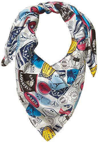 Karl Lagerfeld Paris Damen Stamp 100% Silk Twill Big Square Scarf Schal für kaltes Wetter, hot pink, Einheitsgröße