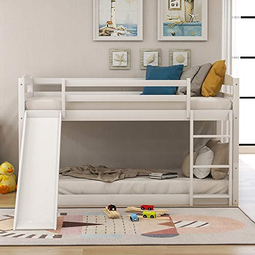 Twin Bunk Beds with Slide for Kids, Low Profile Bunk Beds with Built-in Ladder, No Box Spring Needed