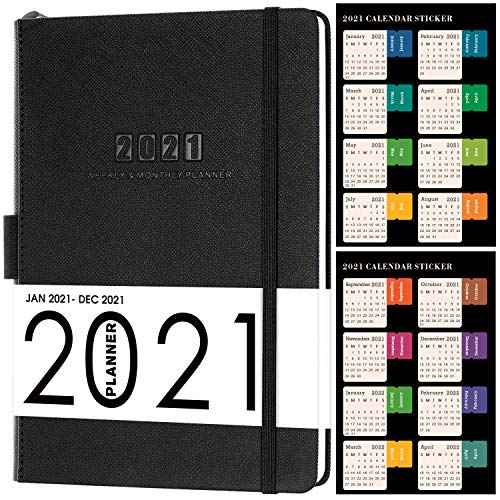 "2021 Planner - Weekly/Monthly Planner, 5.75"" x 8.25"", Saffiano Leather with Thick Paper, Back Pocket with 88 Notes Pages - Black"