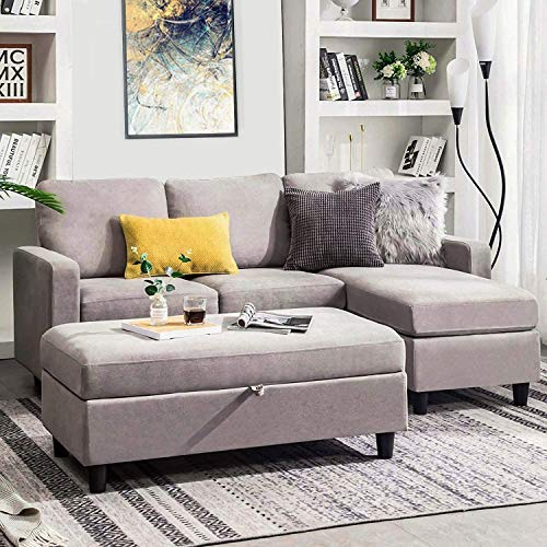 Belffin Reversible 3 Seater Sofa Couch with Ottoman Modern Fabric Couch L Shaped Sectional Sofa Set for Living Room Light Grey