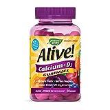 Nature's Way Alive! Premium Calcium + D3, Orchard Fruits/Garden Veggies Powder Blend, 60 Gummies (Packaging May Vary)