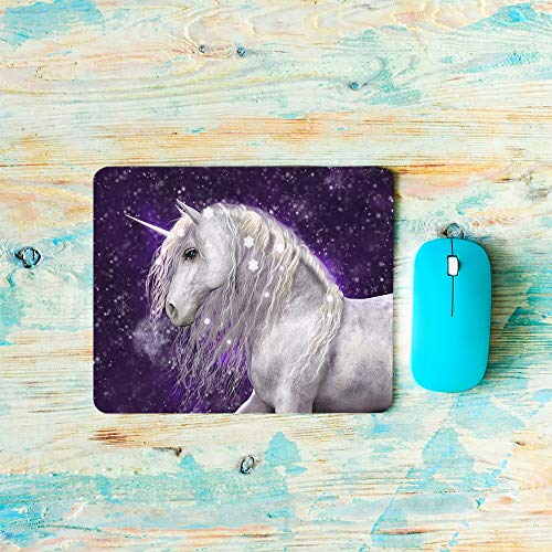 AOYEGO Unicorn Mouse Pad Horse Animal Elegance Furry Floral Hair Fall Sky Magic Fantasy Head Gaming Mouse Pad Non-Slip 7.9X9.5 Inch Rubber Base for Laptop Computer Office