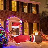 Perro de Navidad inflable iluminado de 5FT con decoración exterior de sombrero de Papá Noel, perro de cachorro hinchable de Navidad para la decoración exterior del patio