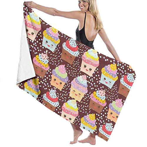 Olie Cam Asciugamani da bagno Cupcakes colorati Asciugamano da spiaggia Decorazioni per lo Yoga Nuoto estivo per Bambini Asciugamani per lavaggio a secco Super assorbenti lunghi