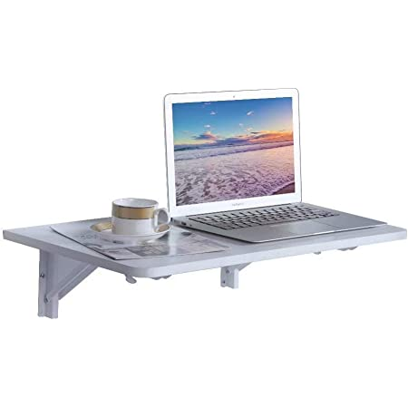 """9 Plus Wall Mounted Floating Folding Table, Drop Leaf Dining Table Small Wooden Desk for Office Home Kitchen(23.6"""" 15.6"""" (LW)), White"""