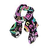 Ahomy - Bufanda para el día de San Valentín, diseño de corazón arcoíris, mariposa, paloma colorida, para playa, bufanda ligera, bufanda larga para mujer