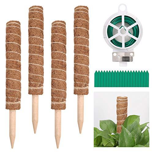 ZOCIPRO 4Stück 15.7 Zoll Kokosstab Pflanzenhalter, Gartenarbeit Moosstab Pflanzenstütze, Natürlicher Kokosfaser Pflanzstab Geeignet für Rankhilfe Zimmerpflanzen, Kletterpflanzen, Monstera