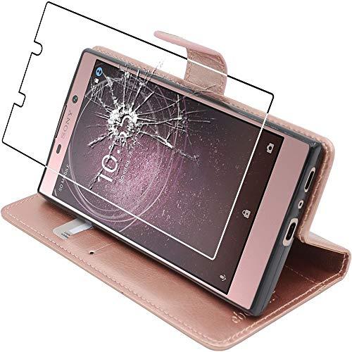 ebestStar - kompatibel mit Sony Xperia L2 Hülle L2 Dual (2018) Kunstleder Wallet Hülle Handyhülle [PU Leder], Kartenfächern, Standfunktion, Pink Gold +Panzerglas Schutzfolie [Phone: 150x78x9.8mm 5.5