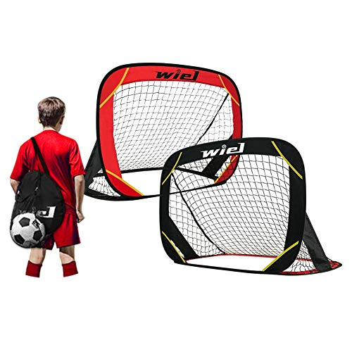 Wiel Pop Up Football Goals, Set of 2 Portable Kids Football Nets for Garden Training and Team Game, 48x32 Inch Foldable Red/Black Goal Set with Carry Bag Includes Mesh Ball Compartment