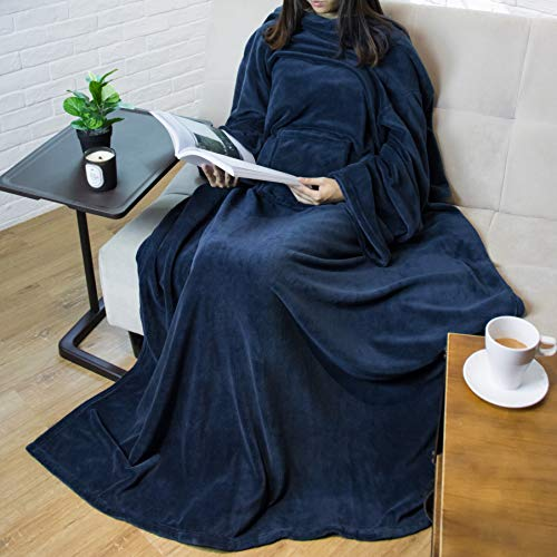 PAVILIA Premium Fleece Blanket with Sleeves for Adult, Women, Men | Warm, Cozy, Extra Soft, Microplush, Functional, Lightweight Wearable Throw (Navy, Regular Pocket)