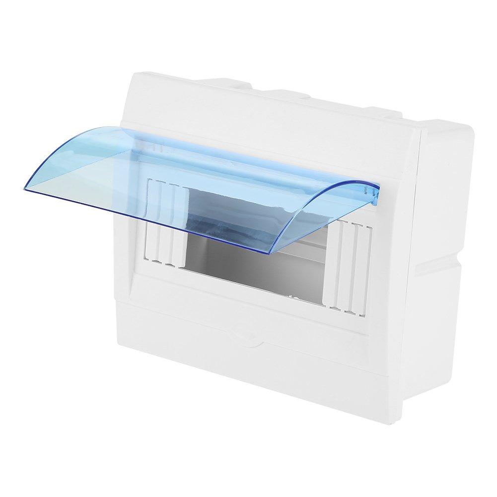 Caja de protección de distribución de energía de la cubierta transparente de plástico para interruptor de circuito de 5-8 vías de interior en la pared: Amazon.es: Bricolaje y herramientas