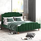 Allewie Queen Size Velvet Bed Frame with Modern Curved Upholstered Headboard and Footboard, Upholstered Platform Bed with Strong Wood Slats Support, No Box Spring Needed, Easy Assembly, Green