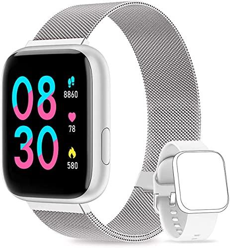 WWDOLL Smartwatch Damen Touch Farbdisplay Fitness Tracker IP67 Wasserdicht Fitnessuhr Armbanduhr mit Schlafmonitor Pulsuhr Blutdruckmessung Sportuhr Smart Watch für iOS Android Silber