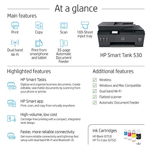 HP Smart Tank 530 Dual Band WiFi Colour Printer with ADF, Scanner and Copier for Home/Office, High Capacity Tank (18000 Black and 8000 Colour) with Automatic Ink Sensor, 35 Sheet ADF
