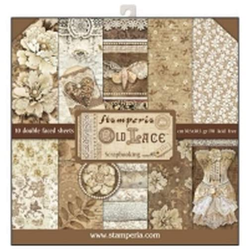 """Stamperia Double-Sided Paper Pad 12""""X12"""" 10/Pkg-Old Lace, 10 Designs/1 Each  """