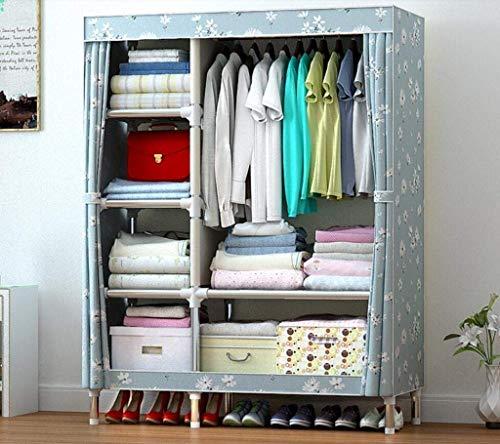 AYUANCHUN garderobe- Doek garderobe, Stalen pijp is versterkt, Eenvoudige moderne geassembleerde garderobe, Wasbare doek cover met rits, Draagbare kast, Kleding opslag organizer