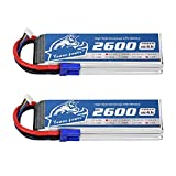 YOWOO 2 Packs 3S 11.1V 2600mAh 60C Lipo Battery with EC3 Connector RC Batteries for E flite Valiant Parkzone E4F Wildcat Great Planes E-Cub RC Car Boat Truck Heli Airplane Quadcopter Helicopter