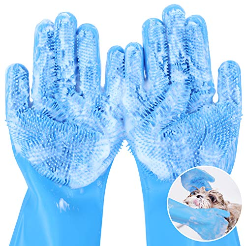 Pecute Heat Resistant Pet Grooming Gloves For Bathing with High Density Silicone Teeth, Enhanced Five Finger Design, Bathing and Massaging...