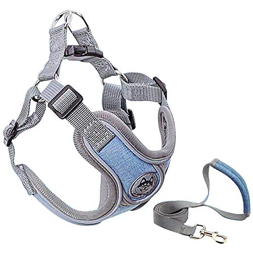 YoneKiera Step-in Escape-Proof Harness Leash Set - Breathable Padded Reflective Comfortable Harness, Padded Handle Dog Leash for Walking Running Medium Blue