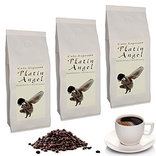C&T Platin Angel Espresso Decaf 3 x 1000 g ganze Kaffeebohnen - der Entkoffeinierte - koffeinfreier Spitzenkaffee aus unserer beliebten Espresso Angel Serie