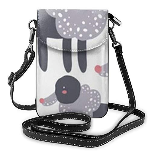 Resumen del bebé patrón perro animal mujer pequeño mensajero bolsa de hombro teléfono móvil bolsa de tarjeta cartera