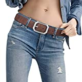 Female Leather Womans Designer Formal Belt Reversible Dark Brown...