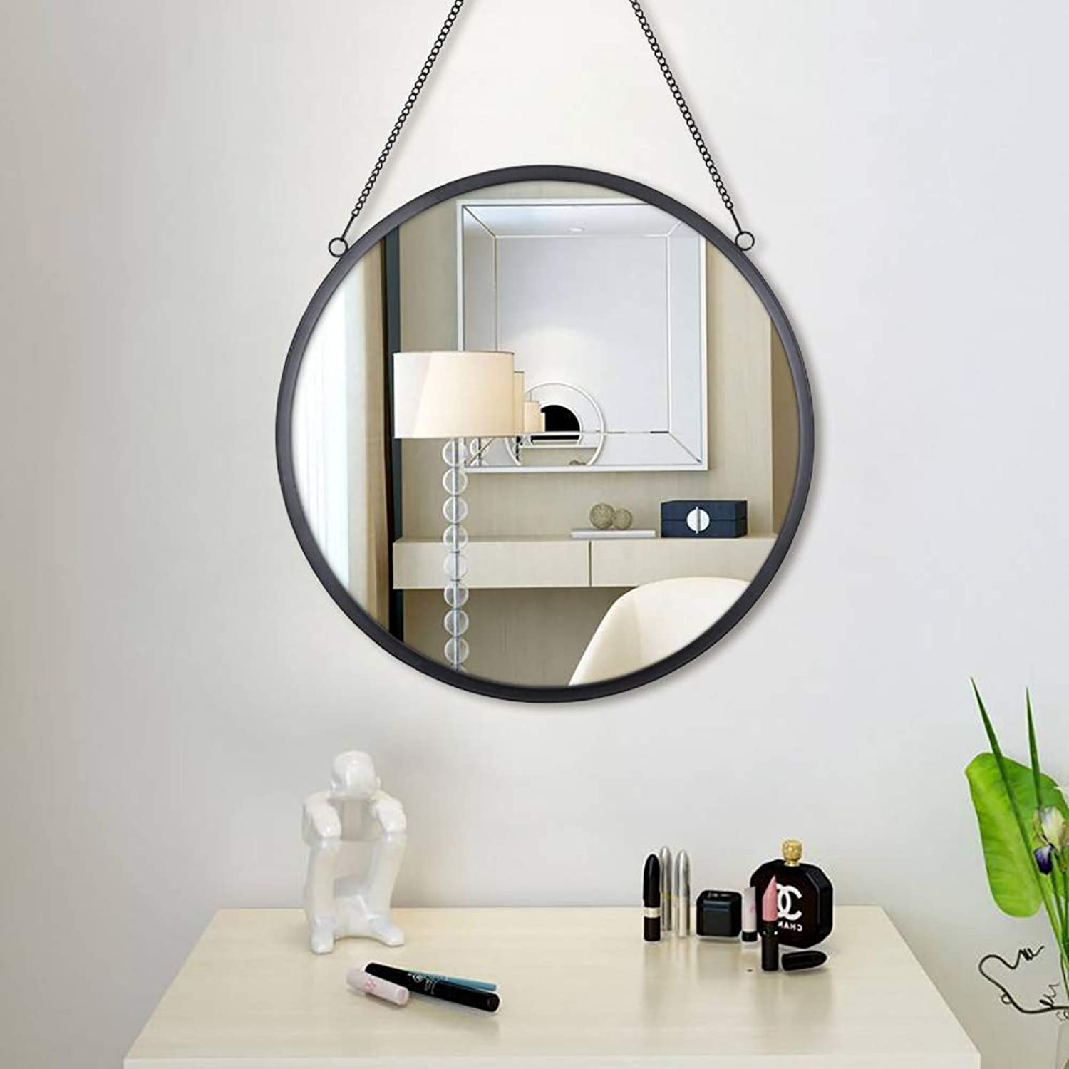 Simmer Stone 20'' Round Mirror Hanging Chain, Thin Metal Framed Decorative Wall Mirror, Wall Mount Hook Offered, Black