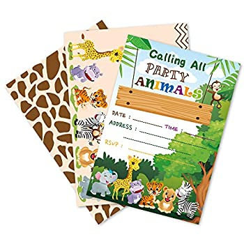 WERNNSAI Jungle Animals Party Invitation with Envelopes - Safari Theme Party Supplies for Kids Birthday Baby shower Zoo Animals Party Invite Cards Double-sided Printed 20 Sets