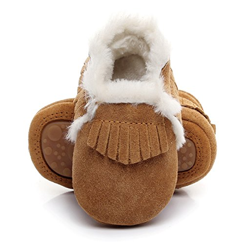 "Winter Suede Fleece Lined Rubber Soles Non Slip Warm Baby Boots Girls Boys Moccasins with Fur Hard Sole Baby Shoes (18-24m/5.71"", Brown)"