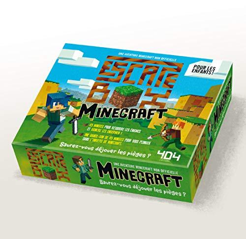 Escape box Minecraft: Contient : 1 livret, 40 cartes, 1 bande-son de 45 minutes, 1 poster