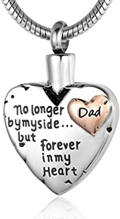 Eternalmemorial Cremation Jewelry for Ashes -No Longer by My Side Forever in My Heart Urn Pendant Necklace for Ashes Grandma Grandpa Mom Dad Papa Nana Brother Sister