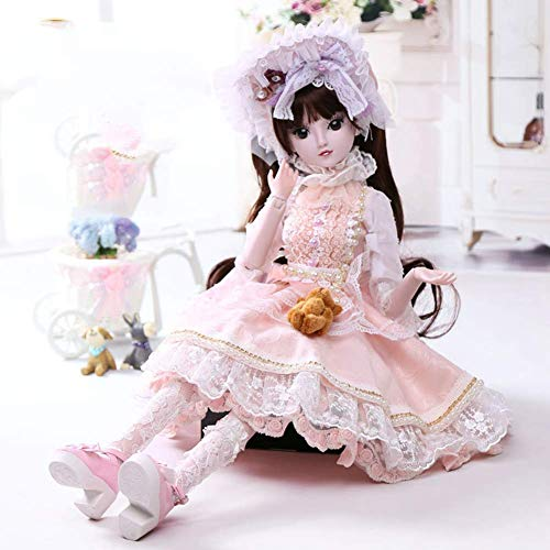 ZNDDB Reborn Baby Puppe Rosa Kleid austauschbare Haare 60Cm kann mit Kugelgelenk Spielzeug ersetzt Werden