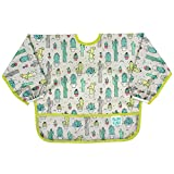 Bumkins Sleeved Bib Baby Bib, Toddler Bib, Smock, Waterproof Fabric, Fits Ages 6-24 Months – Cactus