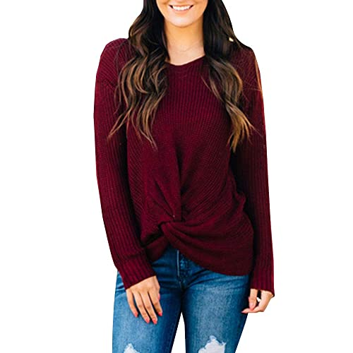 2db0cfe56255 Hestenve Womens Sexy Pullover Sweater Loose Lightweight Knot Jumper Top  Blouse for Valentine s Day