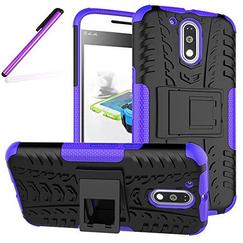 Moto G4 Case,Moto G4 Plus Case, LEECOCO Heavy Duty Box Dual Layer Hybrid Hard PC and Soft TPU Shockproof Protective Defender Case for Motorola Moto G4 / G4 Plus Heavy Purple
