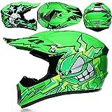 WAHA Casco De Motocross para Niños, con Visera, Máscara, Guantes Integrales, Motocross, MTB, Protección De Seguridad para ATV Downhill,L