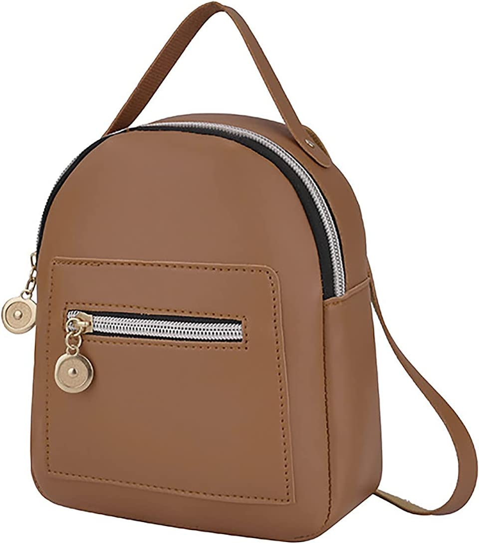 Fashion Cute Mini Leather Backpack Fashion Small Daypacks Purse for Girls and Women (Brown)