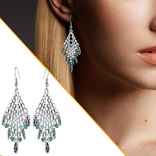 Janly Clearance Sale Women Earrings , Retro Pendant Earrings Bohemian Style Diamond Drop-shaped Ladies Earrings , Valentine's Day Birthday Jewelry Gifts for Ladies Girls (Sliver)