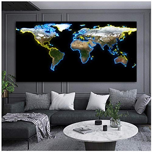 Rjunjie Prints On Canvas World Map HD Pictures Larges Size Modern Decoration Wall Art Picture For Living Room (60x120 cm no frame)