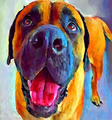 Kits De Pintura De Bricolaje Para Perros Mastiff Para Adultos, Kit De Pintura Por Números En Lienzo Para Principiantes, 16 X 20 Pulgadas (Sin Marco)