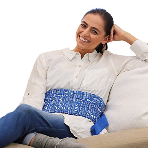 HTP Relief Everywhere Microwave Heating Pad - Aromatic Heating Pad for Lower Back, Menstrual Cramps, Knee Strap Soothing Pain and Tension Blue