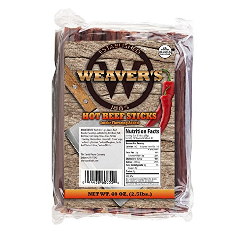 Weaver's Smoked Meats 7' Meat Sticks- Established in 1885 (Hot Beef, 2.5 lbs.)