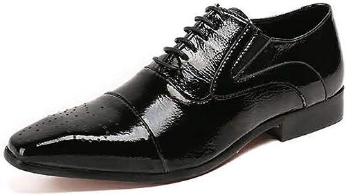 XLY Mocassins Oxford en Cuir véritable pour Hommes en Cuir véritable, Bout Pointu, Lacets, Chaussures de soirée, Pantoufles, Robe de Mariage,40