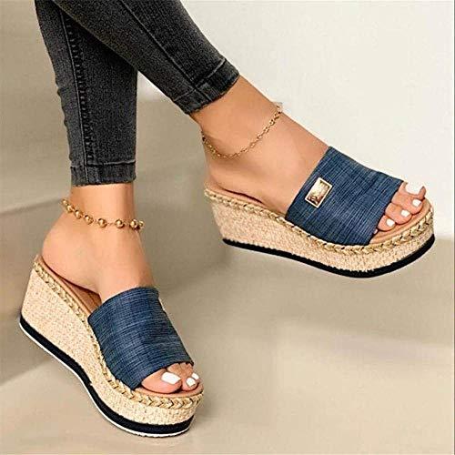 Anoauit Zapatillas para Mujer Cuñas Cuñas Ladies Plataforma Sandalias Casual Cáñamo Zapatos Mujer Slip on Fashion Female Female Confort Slipers Slippers-Azul_43